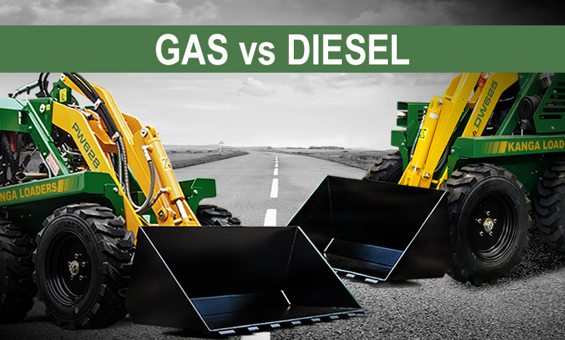 A gas and a diesel compact utility loader facing each other by Kanga Loaders