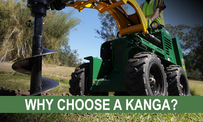 Kanga Loader drilling with an auger bit