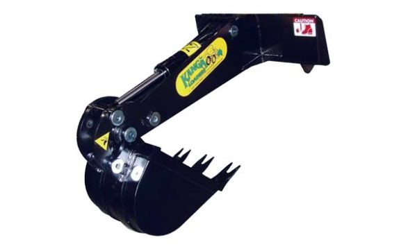 Kanga front hoe for mini loader attachment.