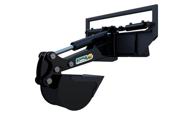 Kanga slewing front hoe compact loader attachment.