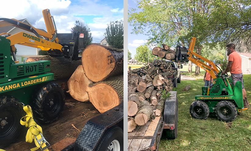 Moving Tree logs with a Kanga Loader